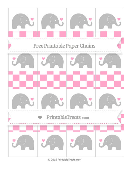 Free Carnation Pink Checker Pattern Baby Elephant Paper Chains