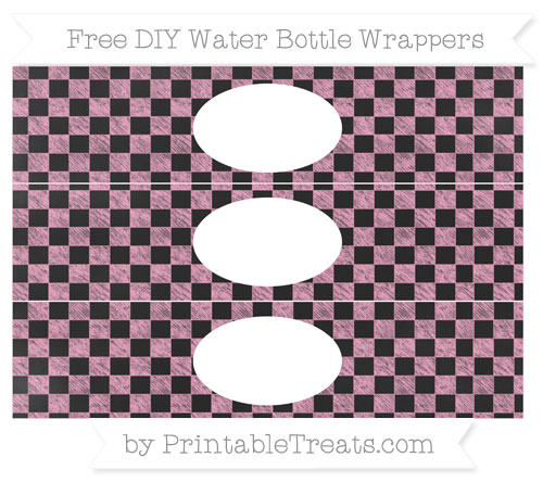 Free Carnation Pink Checker Pattern Chalk Style DIY Water Bottle Wrappers
