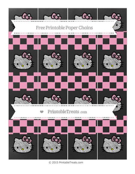 Free Carnation Pink Checker Pattern Chalk Style Hello Kitty Paper Chains