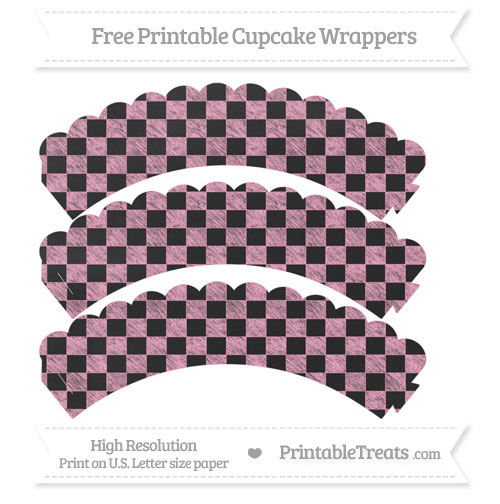 Free Carnation Pink Checker Pattern Chalk Style Scalloped Cupcake Wrappers