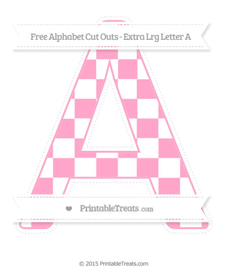 Free Carnation Pink Checker Pattern Extra Large Capital Letter A Cut Outs