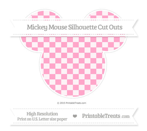 Free Carnation Pink Checker Pattern Extra Large Mickey Mouse Silhouette Cut Outs