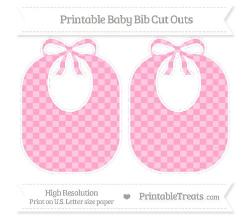 Free Carnation Pink Checker Pattern Large Baby Bib Cut Outs