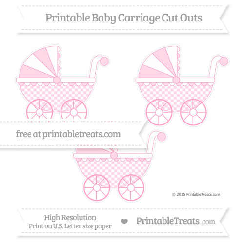 Free Carnation Pink Checker Pattern Medium Baby Carriage Cut Outs