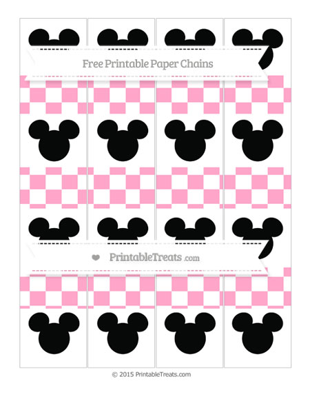 Free Carnation Pink Checker Pattern Mickey Mouse Paper Chains