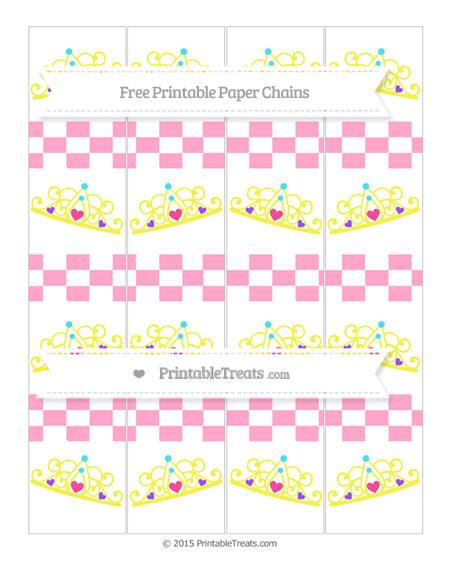 Free Carnation Pink Checker Pattern Princess Tiara Paper Chains