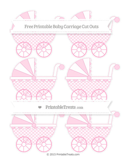 Free Carnation Pink Checker Pattern Small Baby Carriage Cut Outs