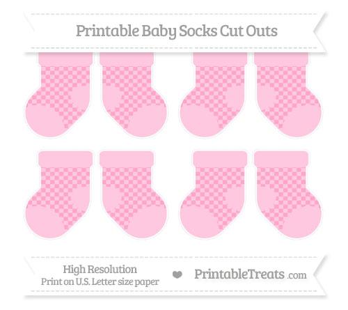 Free Carnation Pink Checker Pattern Small Baby Socks Cut Outs