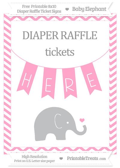Free Carnation Pink Chevron Baby Elephant 8x10 Diaper Raffle Ticket Sign