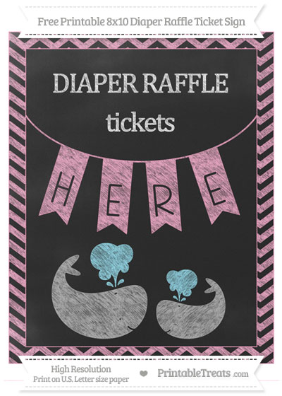Free Carnation Pink Chevron Chalk Style Baby Whale 8x10 Diaper Raffle Ticket Sign