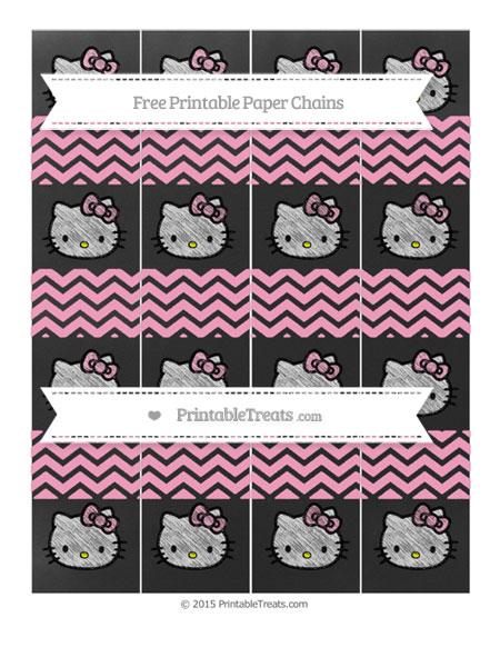Free Carnation Pink Chevron Chalk Style Hello Kitty Paper Chains