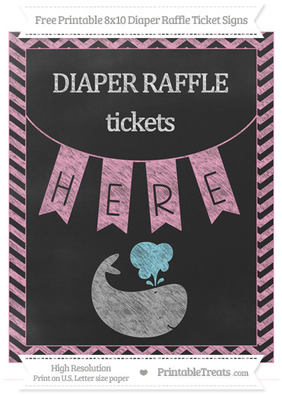 Free Carnation Pink Chevron Chalk Style Whale 8x10 Diaper Raffle Ticket Sign