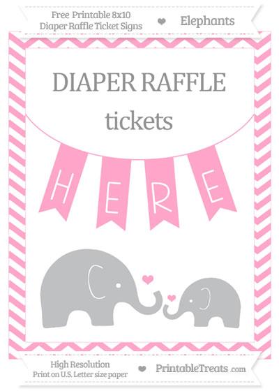 Free Carnation Pink Chevron Elephant 8x10 Diaper Raffle Ticket Sign