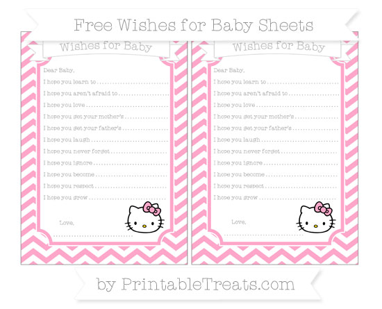 Free Carnation Pink Chevron Hello Kitty Wishes for Baby Sheets