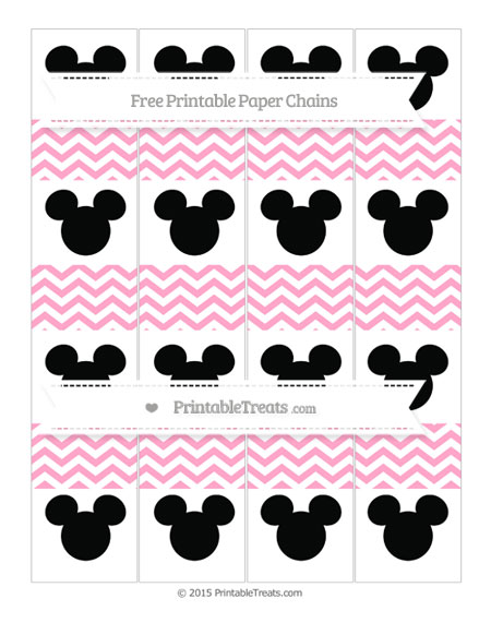 Free Carnation Pink Chevron Mickey Mouse Paper Chains