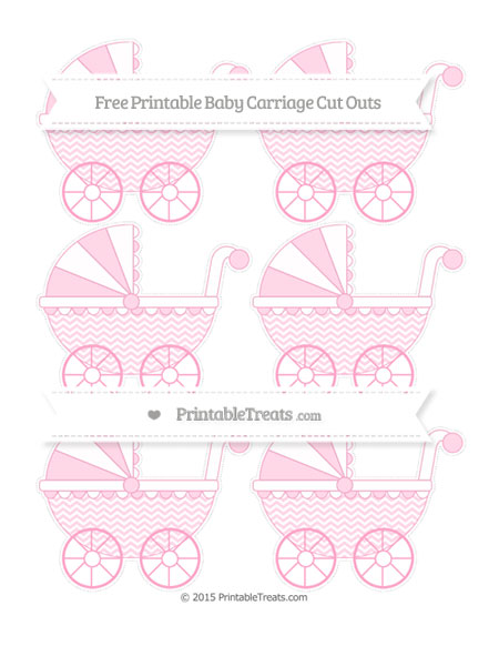 Free Carnation Pink Chevron Small Baby Carriage Cut Outs