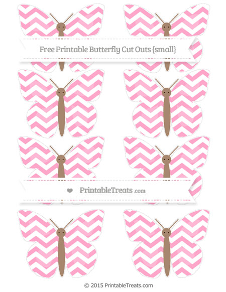 Free Carnation Pink Chevron Small Butterfly Cut Outs