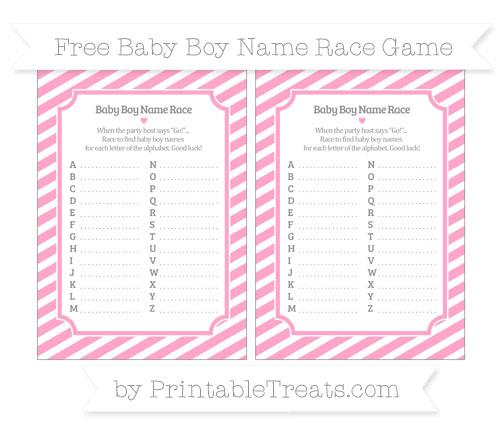 Free Carnation Pink Diagonal Striped Baby Boy Name Race Game