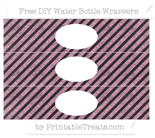 Free Carnation Pink Diagonal Striped Chalk Style DIY Water Bottle Wrappers