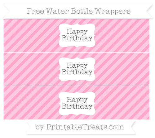 Free Carnation Pink Diagonal Striped Happy Birhtday Water Bottle Wrappers