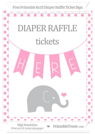 Free Carnation Pink Dotted Baby Elephant 8x10 Diaper Raffle Ticket Sign