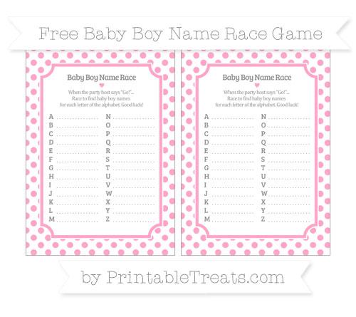 Free Carnation Pink Dotted Pattern Baby Boy Name Race Game