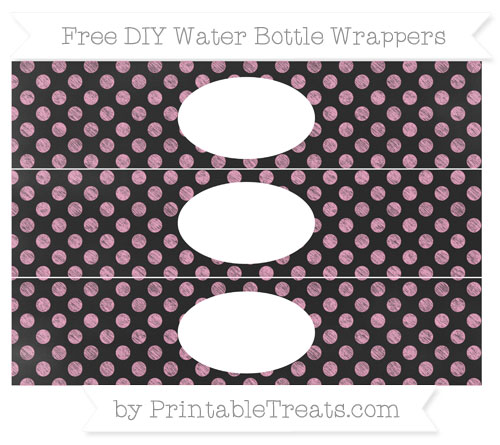 Free Carnation Pink Dotted Pattern Chalk Style DIY Water Bottle Wrappers