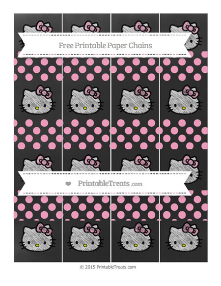 Free Carnation Pink Dotted Pattern Chalk Style Hello Kitty Paper Chains