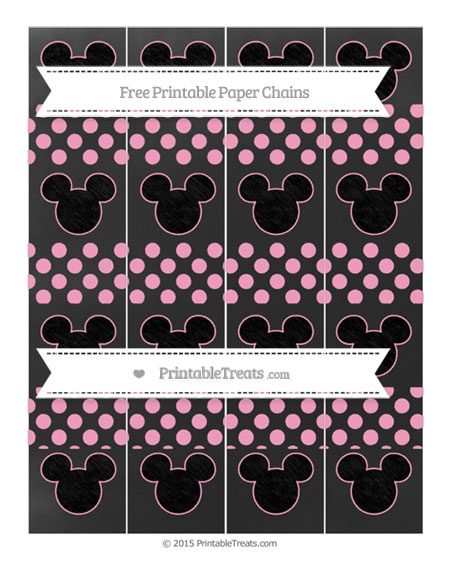 Free Carnation Pink Dotted Pattern Chalk Style Mickey Mouse Paper Chains