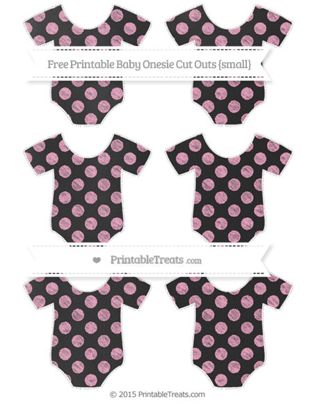 Free Carnation Pink Dotted Pattern Chalk Style Small Baby Onesie Cut Outs