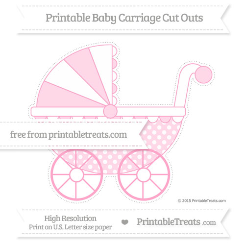 Free Carnation Pink Dotted Pattern Extra Large Baby Carriage Cut Outs