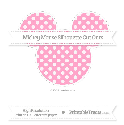 Free Carnation Pink Dotted Pattern Extra Large Mickey Mouse Silhouette Cut Outs