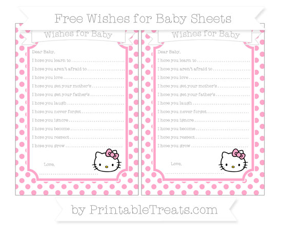 Free Carnation Pink Dotted Pattern Hello Kitty Wishes for Baby Sheets