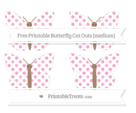 Free Carnation Pink Dotted Pattern Medium Butterfly Cut Outs
