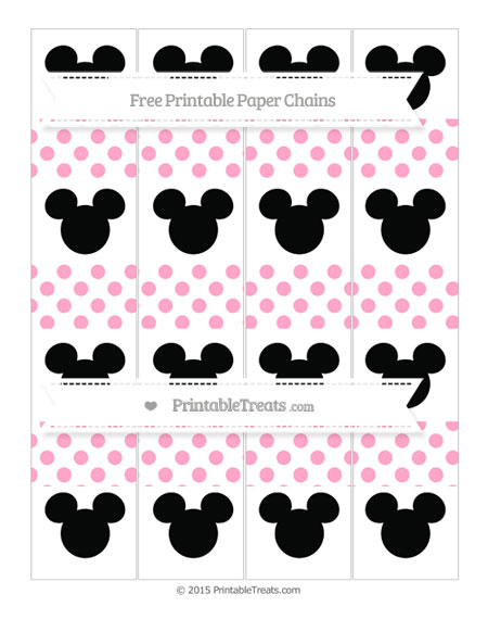 Free Carnation Pink Dotted Pattern Mickey Mouse Paper Chains