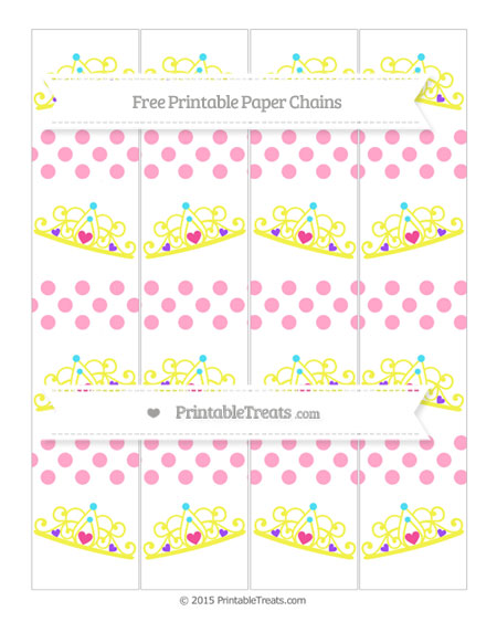 Free Carnation Pink Dotted Pattern Princess Tiara Paper Chains