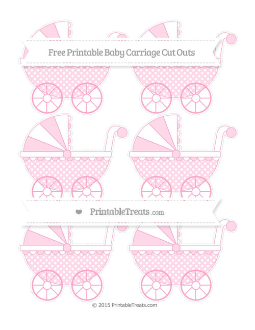 Free Carnation Pink Dotted Pattern Small Baby Carriage Cut Outs
