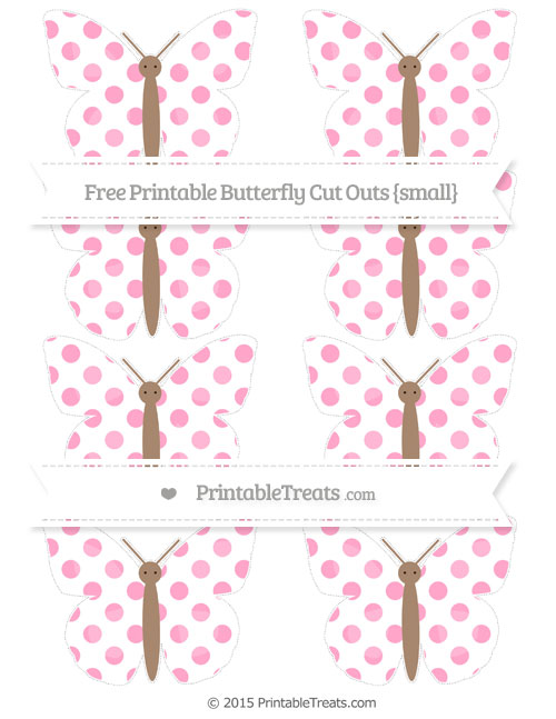 Free Carnation Pink Dotted Pattern Small Butterfly Cut Outs