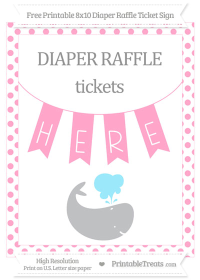 Free Carnation Pink Dotted Whale 8x10 Diaper Raffle Ticket Sign