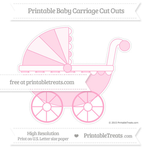 Free Carnation Pink Extra Large Baby Carriage Cut Outs