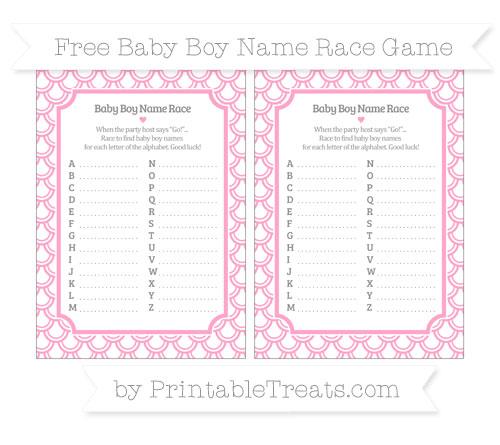Free Carnation Pink Fish Scale Pattern Baby Boy Name Race Game
