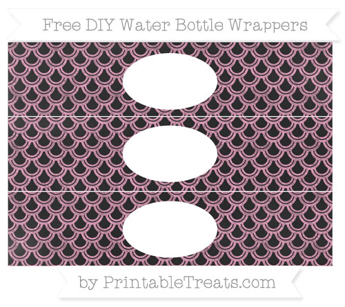 Free Carnation Pink Fish Scale Pattern Chalk Style DIY Water Bottle Wrappers