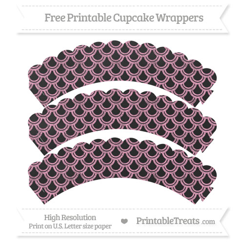 Free Carnation Pink Fish Scale Pattern Chalk Style Scalloped Cupcake Wrappers