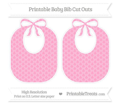 Free Carnation Pink Fish Scale Pattern Large Baby Bib Cut Outs