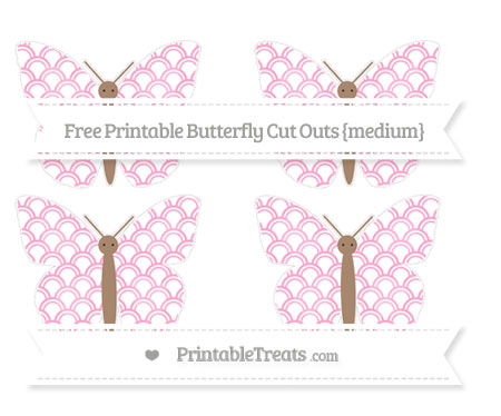 Free Carnation Pink Fish Scale Pattern Medium Butterfly Cut Outs