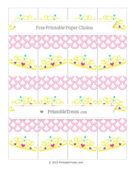 Free Carnation Pink Fish Scale Pattern Princess Tiara Paper Chains