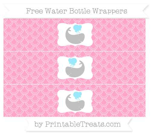 Free Carnation Pink Fish Scale Pattern Whale Water Bottle Wrappers