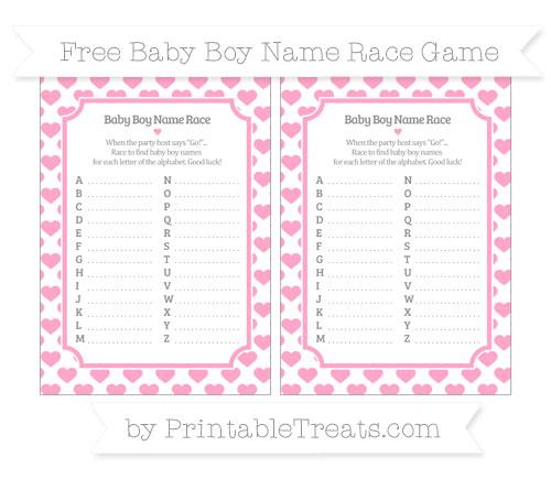 Free Carnation Pink Heart Pattern Baby Boy Name Race Game