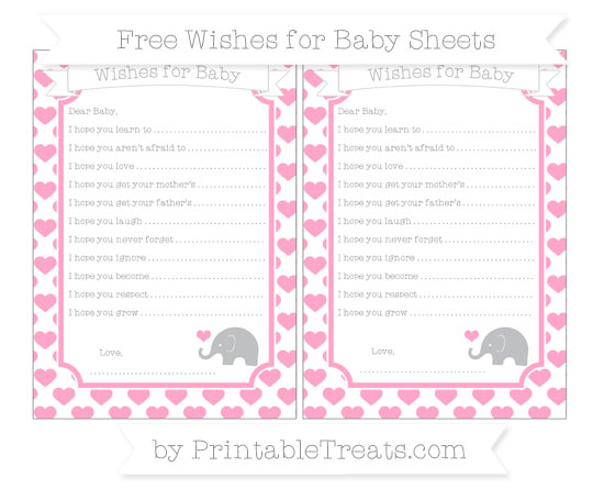 Free Carnation Pink Heart Pattern Baby Elephant Wishes for Baby Sheets