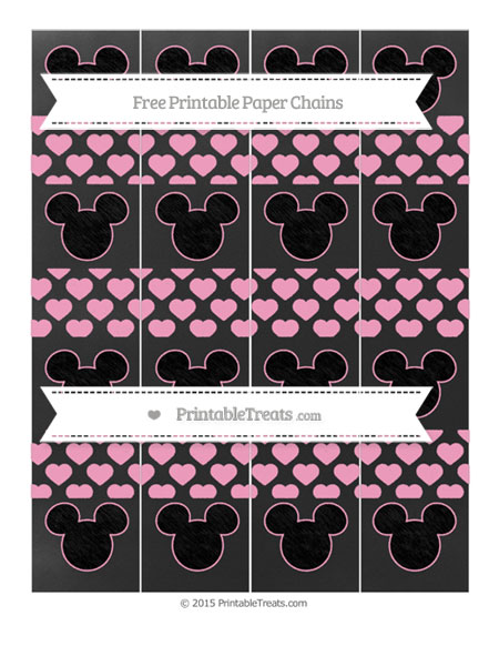 Free Carnation Pink Heart Pattern Chalk Style Mickey Mouse Paper Chains